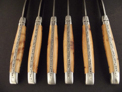 Set of 6 forged laguiole table knives juniper wood
